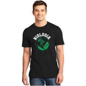 Camiseta Masculina Universitária Faculdade Biologia - PRETO - P