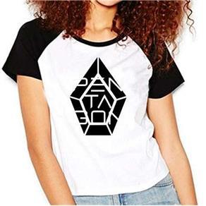 Camiseta Pentagon Kpop Raglan Babylook - PRETO - M