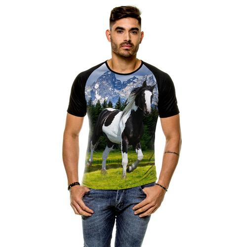 Camiseta Raglan Cavalo Pampa Preto Masculina