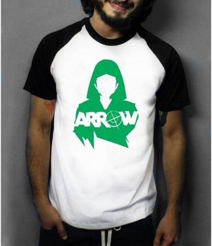 Camiseta Raglan Manga Curta Arrow (Branco, P)