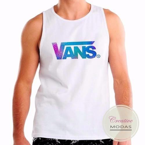 Camiseta Regata Personalizada Vans Aqua (Branco, G)
