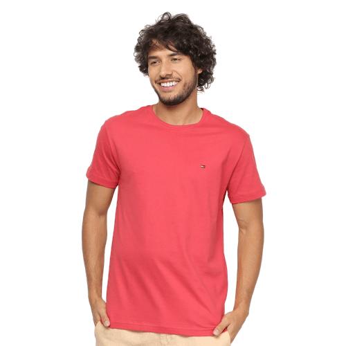Camiseta Tommy Hilfiger Básica Coral (P)