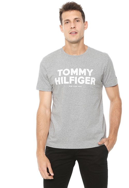 Camiseta Tommy Hilfiger Lettering Cinza
