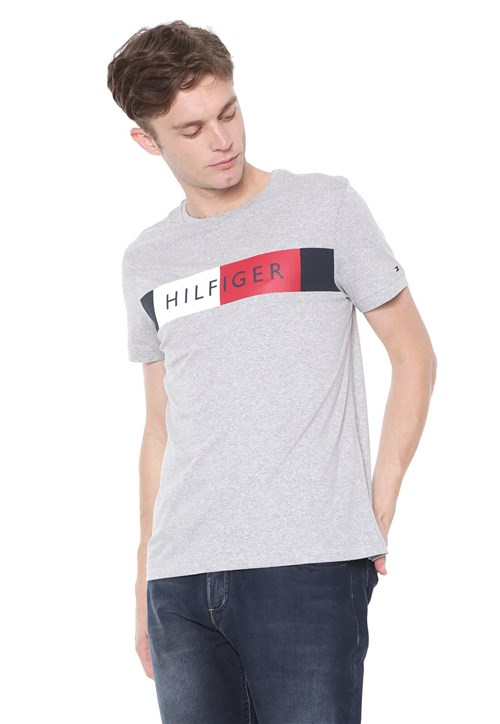 Camiseta Tommy Hilfiger Stripe Cinza
