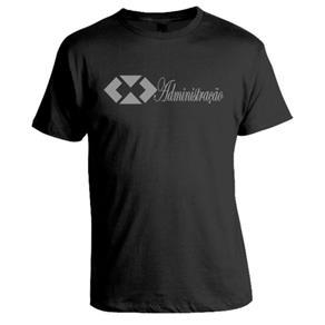 Camiseta Universitária Administração - Estampa Prata - PRETO - G