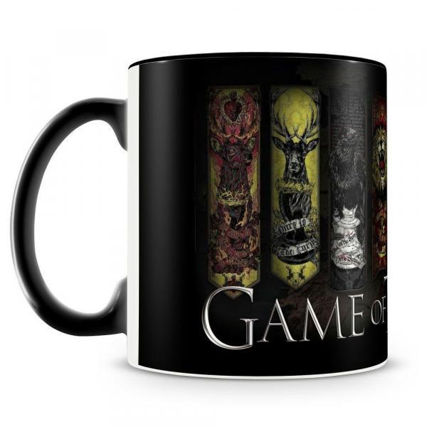 Caneca Personalizada Game Of Thrones Casas (Preta) - Amocanecas