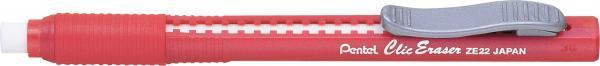 Caneta Borracha Pentel Clic Eraser Vermelho ZE22-B