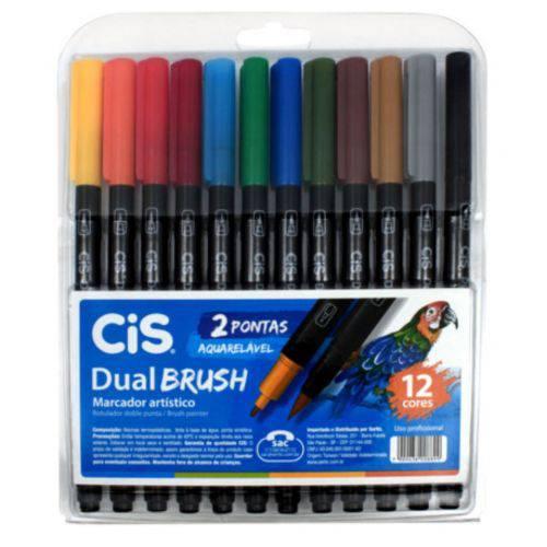 Caneta Dual Brush Pen Aquarelável Cis Estojo com 12 Cores