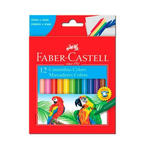 Caneta Hidrocor 12 Cores Lavável Faber Castell