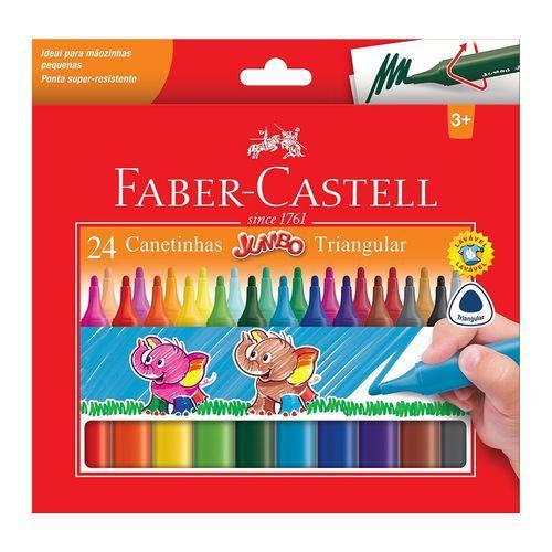 Caneta Hidrocor Faber Castell Jumbo Triangular 024 Cores 15.0224J