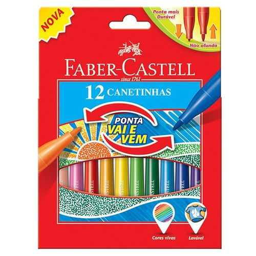 Caneta Hidrográfica 12 Cores Ponta Vai e Vem 15.0112vvzf Faber-Castell