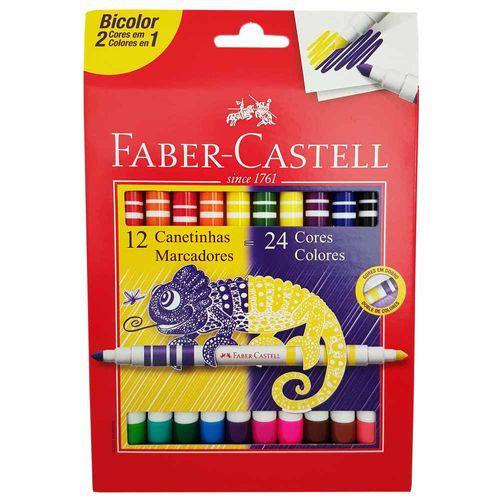 Caneta Hidrográfica 24 Cores Bicolor Faber Castell 998000
