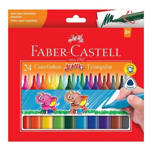 Caneta Hidrográfica 24 Cores Jumbo Faber-Castell
