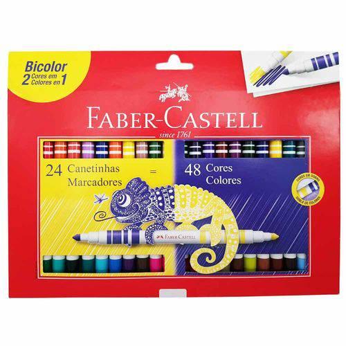 Caneta Hidrográfica 48 Cores Bicolor Faber Castell