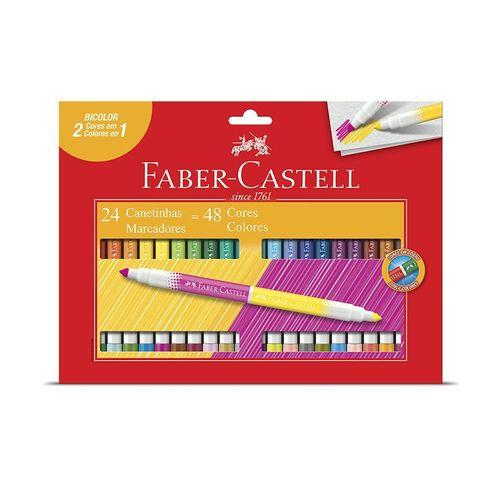 Caneta Hidrográfica 48 Cores Bicolor - Faber-Castell