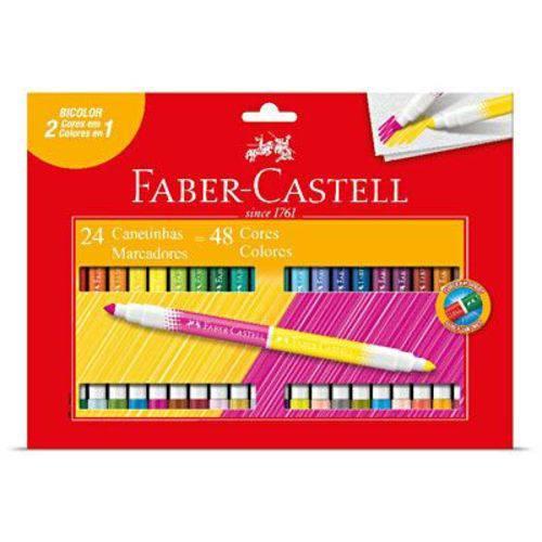 Caneta Hidrográfica 48 Cores Faber Castell Bicolor