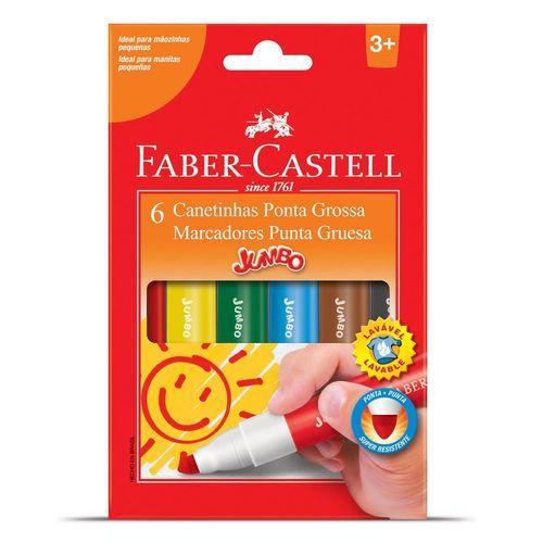 Caneta Hidrográfica 6 Cores Jumbo - Faber Castell