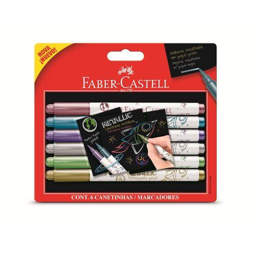Caneta Hidrográfica 6 Cores Metalic - Faber Castell
