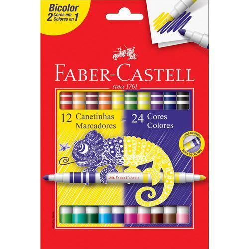 Caneta Hidrográfica Bicolor Faber Castell 12 Canetinhas = 24 Cores