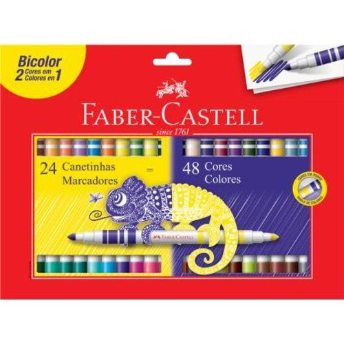 Caneta Hidrográfica Bicolor Faber Castell 24 Canetinhas = 48 Cores