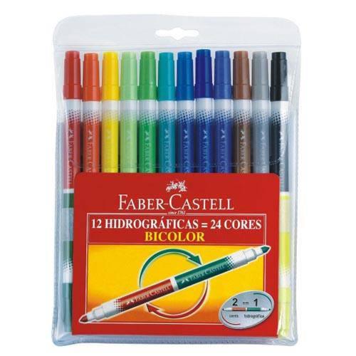 Caneta Hidrográfica Faber Castell Bicolor 24 Cores