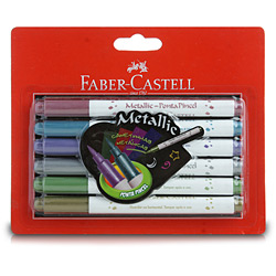 Caneta Hidrográfica Metallic com Ponta de Pincel 6 Cores - Faber-Castell