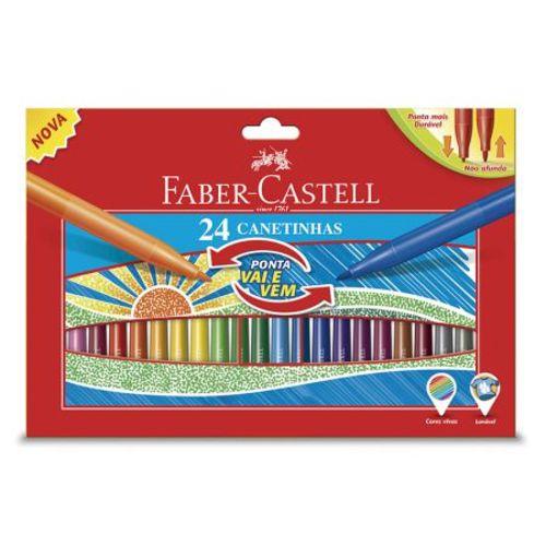 Caneta Hidrográfica Ponta Vai e Vem - 150124VVZF - com 24 Cores - Faber-Castell