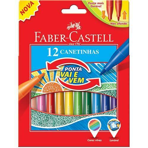 Caneta Hidrográfica Vai e Vem 12 Cores Faber Castell