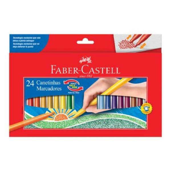 Caneta Hidrografica Vai e Vem com 24 Cores - Faber Castell