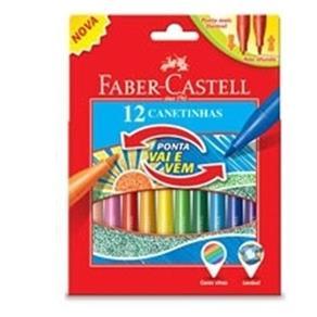 Caneta Hidrográfica Vai e Vem Faber Castell 12 Cores 130603