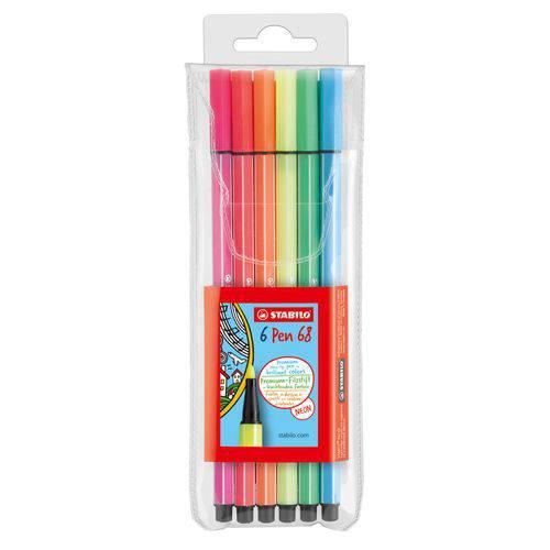 Caneta Marca Texto Stabilo Pen 68 - 1,0 com 6 Cores Neon