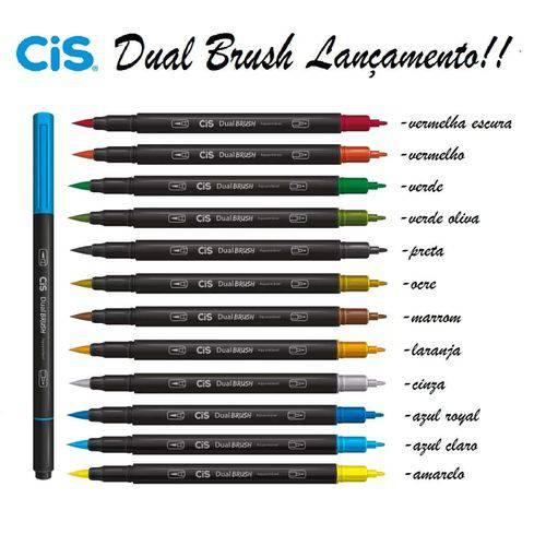Caneta Pincel Cis Dual Brush Aquarelavel com 12 Unidades Sortidas!