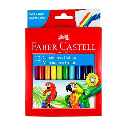 Canetinha Faber Castell 12 Cores Vivas Original Escolar