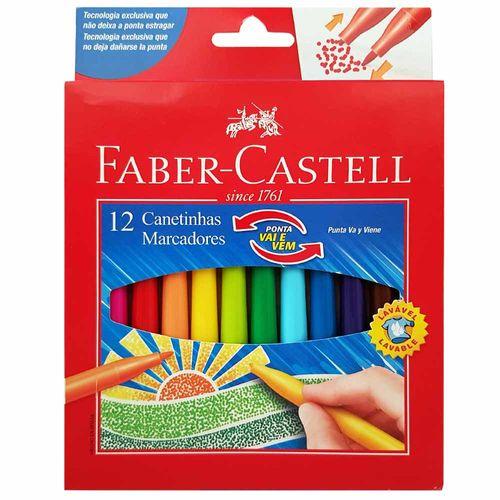 Canetinha Hidrográfica 12 Cores Vai e Vem Faber Castell 130603