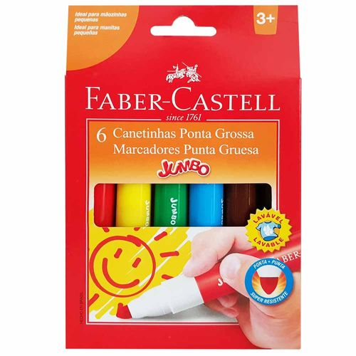 Canetinha Hidrográfica 6 Cores Jumbo Faber Castell 132075