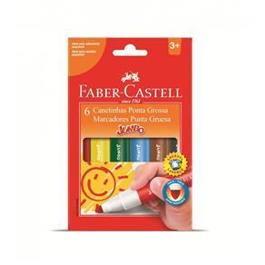 Canetinha Hidrográfica 6 Cores Jumbo - Faber Castell