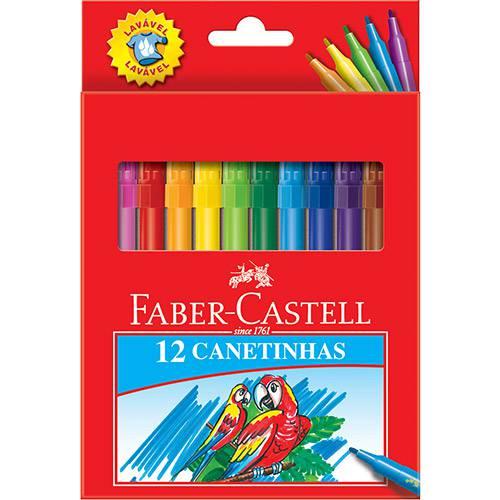 Canetinha Hidrográfica Faber Castell 12 Cores Estojo Cartão