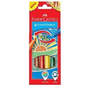 Canetinha Hidrográfica Faber Castell Vai e Vem - 6 Cores