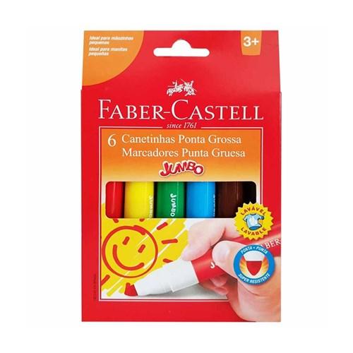 Canetinha Hidrográfica Jumbo Faber-Castell 6 Cores