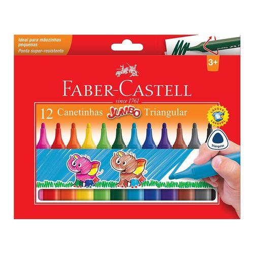 Canetinha Hidrográfica Jumbo Triangular 12 Cores Faber-Castell