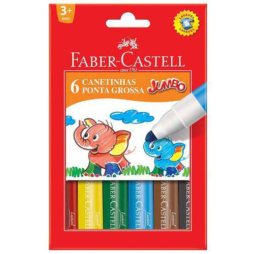 Canetinha Jumbo Faber-castell 06 Cores