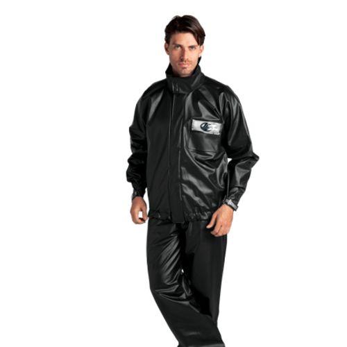 Capa de Chuva Alba Europa PVC Preta com Gola Unissex Proteção Chuva e Frio Moto Motoqueiro Motoboy