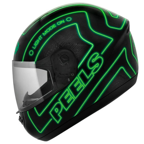 Capacete Spike Neon 56 Preto/verde Peels