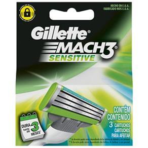 Carga de Barbear Gillette Mach3 Sensitive - 3 Unidades