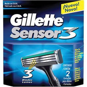 Carga Gillete P/ Babeador Descartável Sensor 3 C/ 2 Unidades