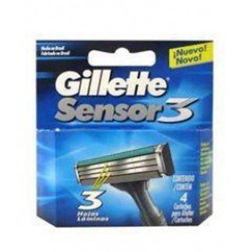 Carga Gillette Aparelho de Barbear Sensor 3 com 4 Unidades