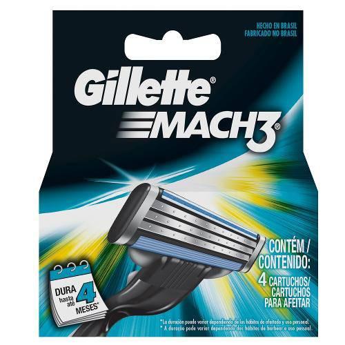 Carga Gillette Mach3 com 4 Unidades