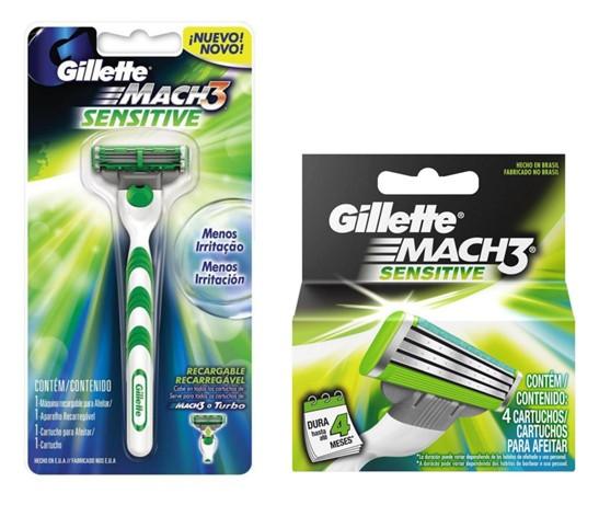 Carga Gillette Mach 3 Sensitive - 4 Unidades + Aparelho de Barbear