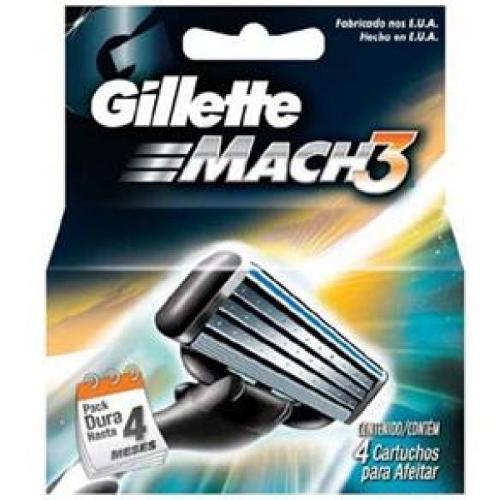 Carga/Refil para Aparelho de Barbear Gillette Mach3 C/ 4 Unidades