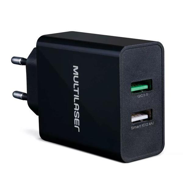 Carregador de Parede Concept Multilaser, 2 Portas USB, Quick Charger, Preto CB117